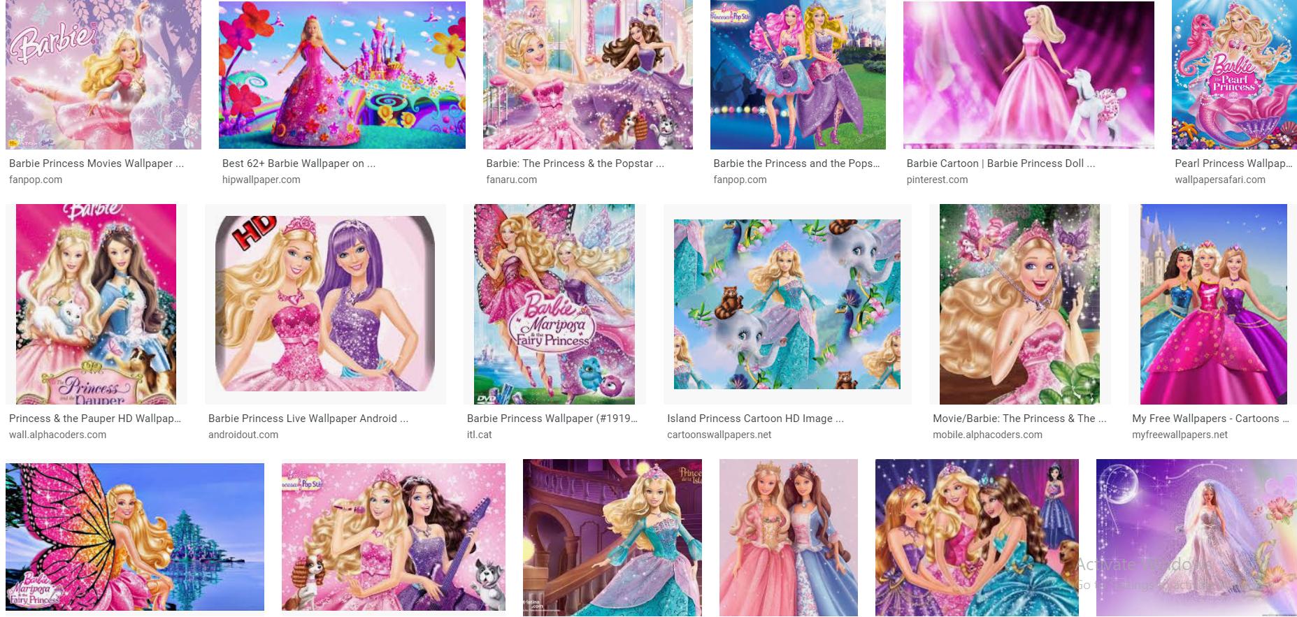 set of barbie pictures together